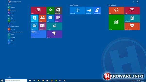 Eerste indruk windows 10 build 9926 startmenu startscherm - De rechterhoek tv ...