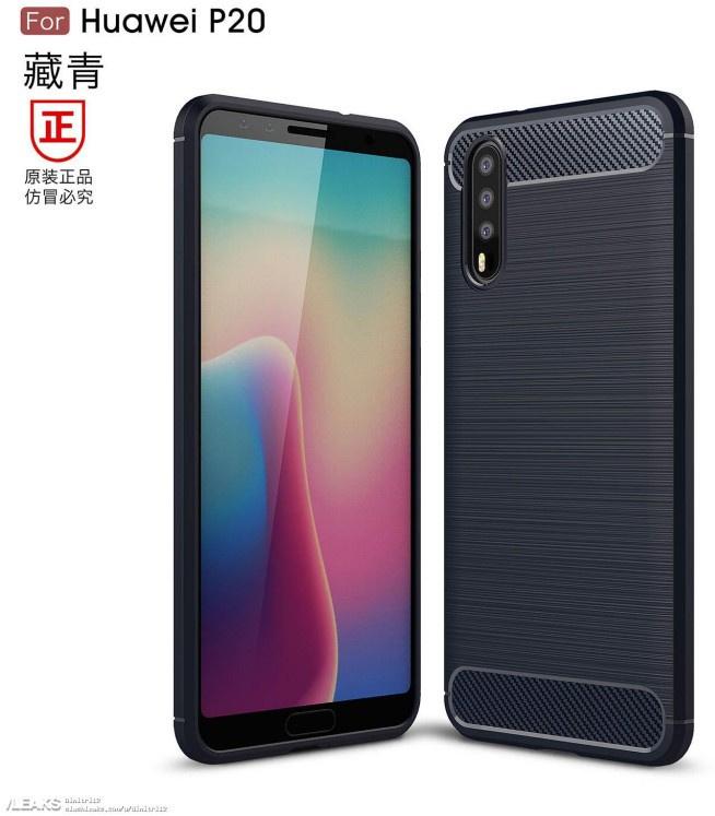 Renderafbeeldingen Huawei P20 Smartphone Tonen Triple Cameraopstelling