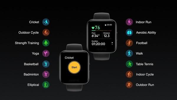 De verschillende sportstanden van de smartwatch