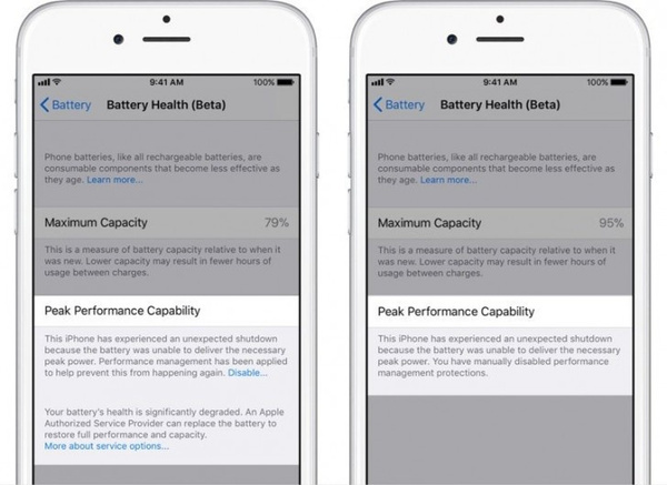 De batterij instellingen zijn in recente iOS versies uitgebreider