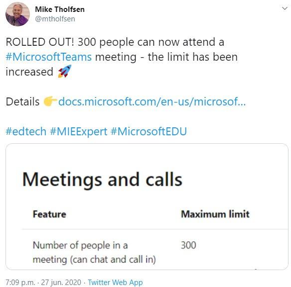 Microsoft Teams mededeling