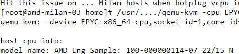 Gedeelte van een tekstdocument met daarin een AMD productnummer voor Milan