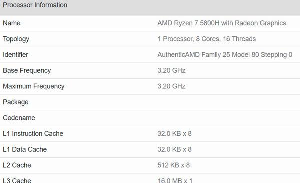 Geekbench informatie van Ryzen 5800H