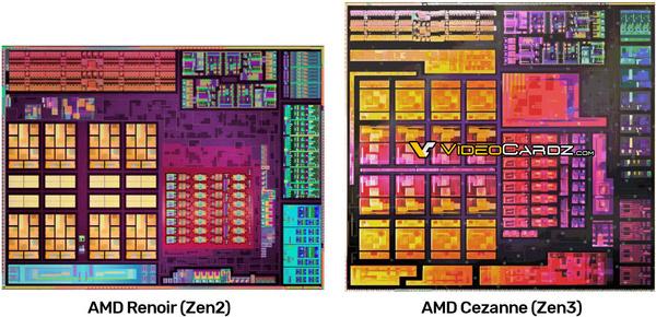 Die renders van Zen 2 en Zen 3 mobiele processors