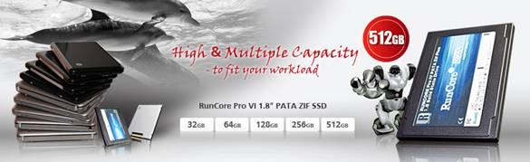 1,8-inch RunCore SSD met maximaal 512 GB capaciteit