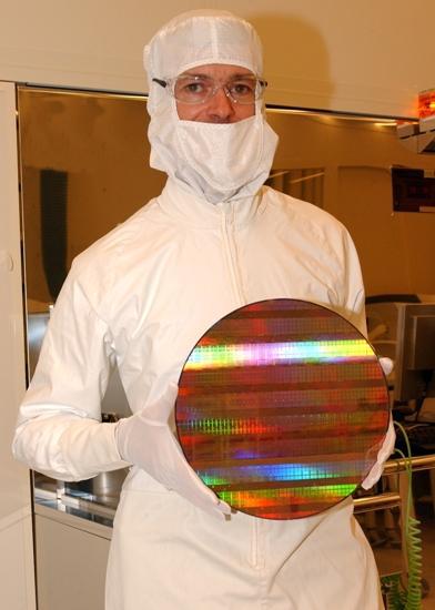 Een 45nm wafer bij Intel