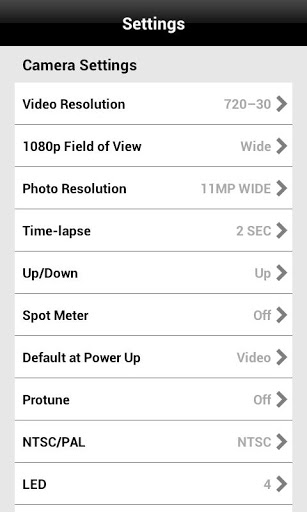 Settings in GoPro app