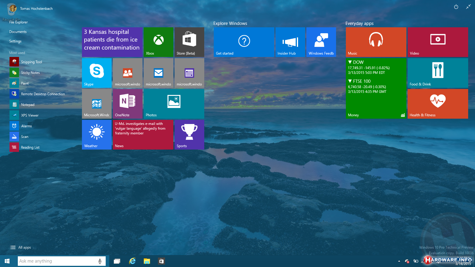 Windows 10 build 10036 lekt uit transparant startmenu en for Windows 7 bureaublad