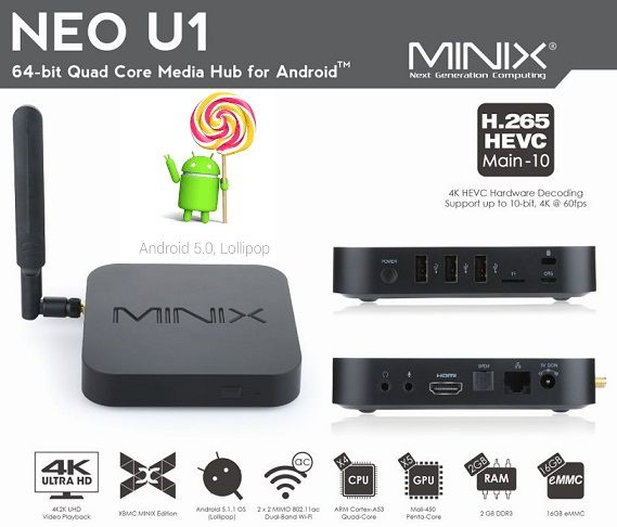 Minix Neo U1 Android TV-box met Ultra HD ondersteuning - Hardware Info