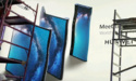 Reclamebord toont Huawei's vouwbare, 5G-compatible Mate X