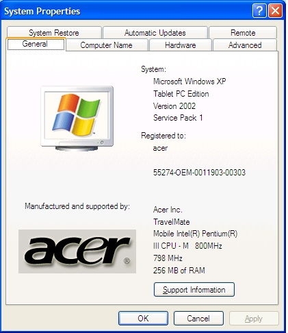 Acer Travelmate 100c Tablet Pc Windows Xp Tablet Pc Edition