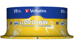 Verbatim DVD+RW 4x 25pk Spindle