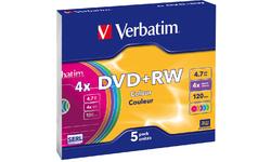 Verbatim DVD+RW Color 4x 5pk Slim case