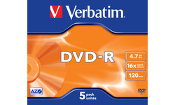 Verbatim DVD-R 16x 5pk Jewel case