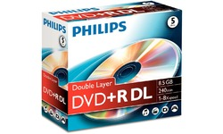 Philips DVD+R DL 2.4x 5pk Jewel case