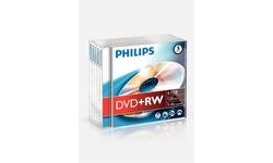 Philips DVD+RW 4x 5pk Jewel case