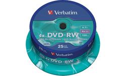 Verbatim DVD-RW 4X 25pk Spindle