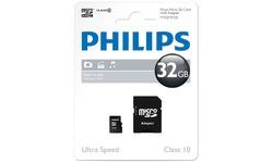Philips MicroSDHC Class 10 32GB + Adapter
