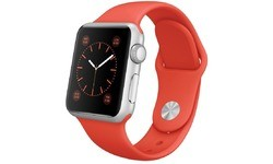 Apple Watch 38mm Silver Aluminium Case, Orange Sport Band