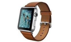 Apple Watch 42mm Stainless Steel Case, Saddle Brown Classic Buckle