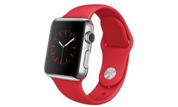 Apple Watch 38mm Stainless Steel Case, Red Sport Band