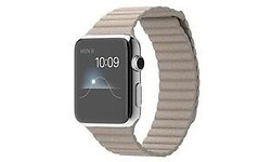 Apple Watch 42mm Stainless Steel Case, Stone Leather Loop, L