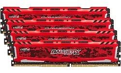 Crucial Ballistix Sport LT Red 64GB DDR4-2400 CL16 quad kit