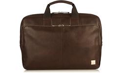 "Knomo Newbury V2 Full Leather Single Zip Brief 15"" Brown"