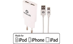 Mobilize Travel Charger Dual USB 2.4A + 1m Apple Lightning Cable White