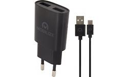 Mobilize Travel Charger Dual USB 2.4A + 1m USB-C Cable Black