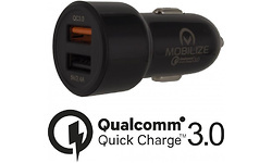 Mobilize Smart Car Charger Dual USB 4.8A with QC3.0 Black