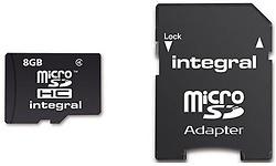 Integral MicroSDHC Class 10 8GB + Adapter