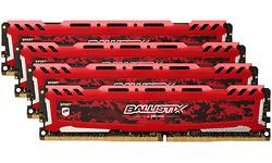Crucial Ballistix Sport LT Red 64GB DDR4-3000 CL15 quad kit