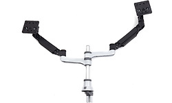 HE Brand R-Go Zepher 4 Twin Monitor Arm Silver