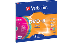 Verbatim DVD-R Color 16x 5pk Slim case