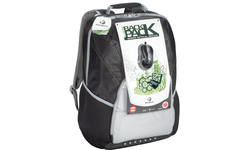 """Targus XL Laptop Backpack 17"""" Black/Grey + Wired Optical Mouse"""