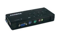 Edimax 4 Ports PS/2 KVM Switch with Cables kit & Audio/Mic