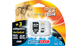 Dane-Elec MicroSDHC 8GB + 3 Adapters