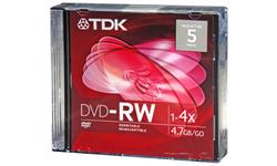TDK DVD-RW 16x 5pk Jewel case