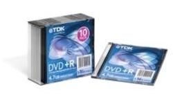 TDK DVD+R 16x 10pk Slim case