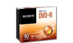 Sony DVD-R 16x 10pk Slim case