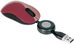 Targus Compact Blue Trace Retractable Wired Mouse Red