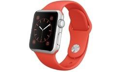 Apple Watch 38mm Silver Aluminium Case, Orange Sport Band