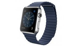 Apple Watch 42mm Stainless Steel Case, Midnight Blue Leather Loop