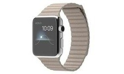 Apple Watch 42mm Stainless Steel Case, Stone Leather Loop, M