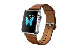 Apple Watch 38mm Stainless Steel Case, Saddle Brown Classic Buckle