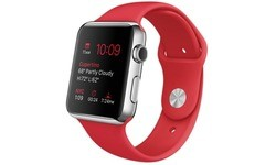 Apple Watch 42mm Stainless Steel Case, Red Sport Band
