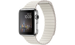 Apple Watch 42mm Stainless Steel Case, White Leather Loop