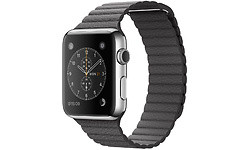 Apple Watch 42mm Stainless Steel Case, Storm Grey Leather Loop, M