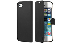 SBS Leather Book Case Whiteh Magnetic Closure for iPhone 5/5S Black